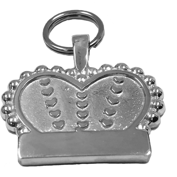 Large Crown & Heart Tag Sterling Silver